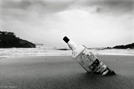 BODEGÓN botella playa bn